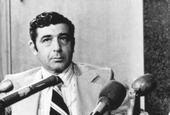 In this April 2, 1971, file photo, Portland Trail Blazers executive vice president Harry Glickman listens at a news conference as UCLA's Sidney Wicks speaks shortly after signing a five-year contract with the club, in Portland. Glickman, the founder of the Portland Trail Blazers and general manager of the franchise's only NBA title-winning team in 1977, died Wednesday, June 10, 2020. He was 96.