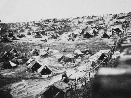 The infamous Andersonville POW camp is seen in August 1864, the same time the Licking County men would have been confined there.