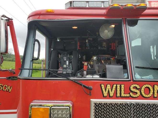 A turkey flew through the windshield of a town of Wilson Fire Department engine on June 10, 2020.
