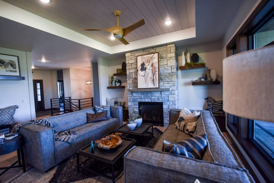 A view of the living room is seen in the twin home built by Rallis Construction on Thursday, June 11, 2020 at 7601 E. Donnelly Dr. in Sioux Falls.
