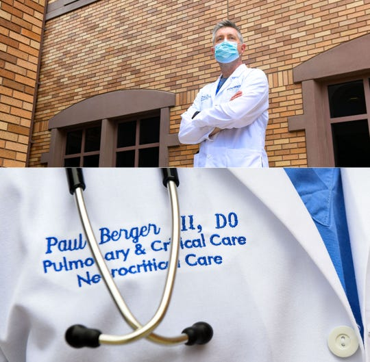Paul Berger, doctor of osteopathy and critical care doctor at Sanford Medical Center, stands for a portrait on Tuesday, June 9, in Sioux Falls.