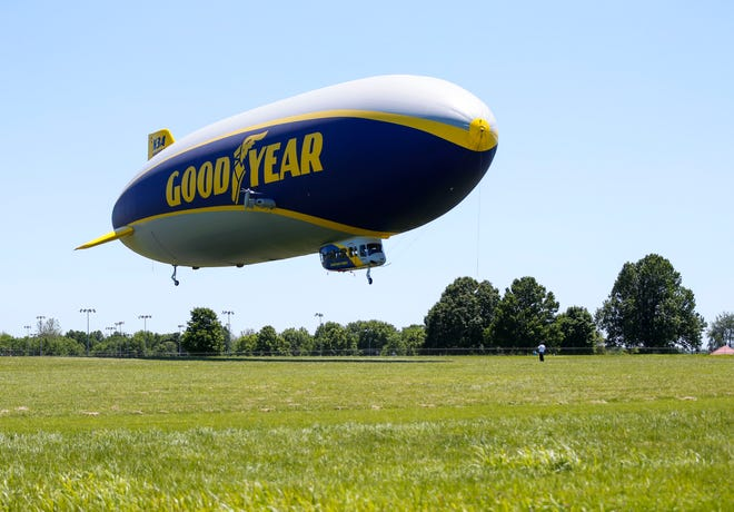 """The blimp, """"Wingfoot Three,"""" will pass over Mansfield around 11:05 a.m. Thursday."""