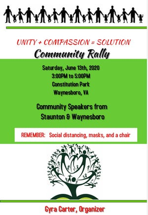 Community rally to be held June 13, 2020 at Waynesboro's Constitution Park at 3 p.m.