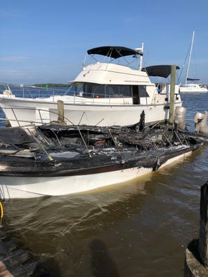 A boat was destroyed by fire in Fort Pierce on Wednesday June 10, 2020