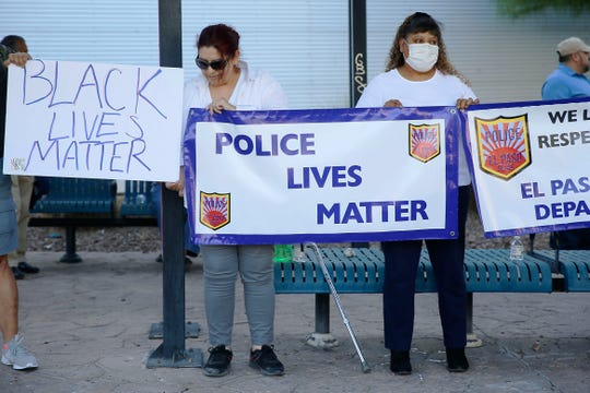 People unite in the Stand with El Paso Police Department and El Paso for EPPD demonstration Wednesday, June 10, 2020, in Downtown.