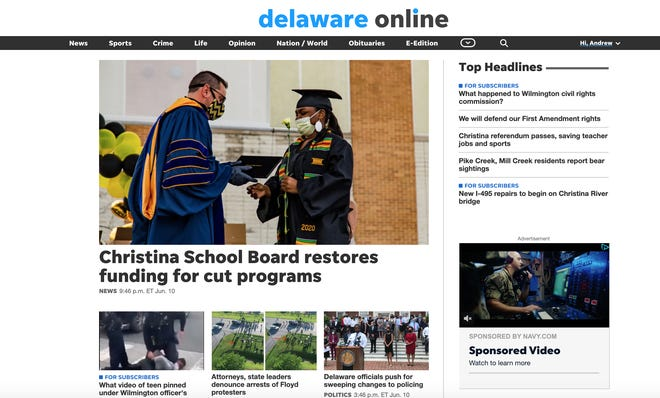 Delaware Online has a new look — and improved features.