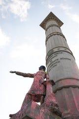 Defaced Jefferson Davis statue in Richmond, Virginia, on June 10, 2020.