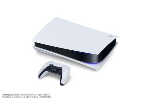 The PlayStation 5 digital console and DualSense controller.