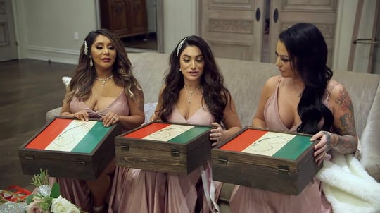"""Nicole """"Snooki"""" Polizzi, Deena Cortese and Jenni """"JWoww"""" Farley on the June 11, 2020 episode of """"Jersey Shore Family Vacation."""""""