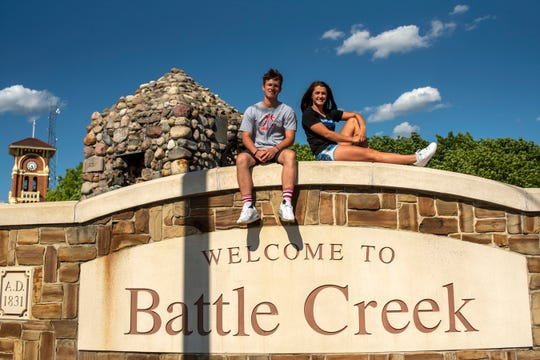 Battle Creek Enquirer's 2020 Athletes of the Year Connor Gausselin from St. Philip and Alysa Wager from Harper Creek take pictures together on Thursday, June 11, 2020 in downtown Battle Creek, Mich.