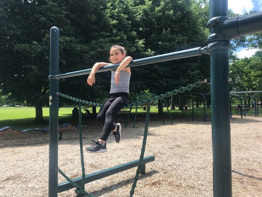 Jemma Johnstone, 6, of Johnson City, played at Otsiningo Park's playground on June 12, 2020.
