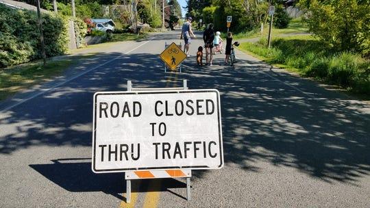 Temporary restrictions limited traffic on Grow Avenue on Bainbridge Island last month.