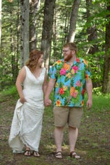 Elizabeth and Cody Parah delayed their big wedding and got married in their own backyard June 6, 2020.