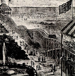 June 16, 1884: The first gravity roller coaster, designed by LaMarcus Adna Thompson, opened at Coney Island, New York.