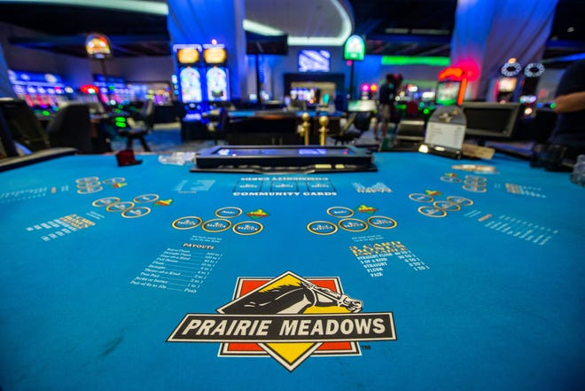 Prairie Meadows reopened June 15 with plastic dividers between some games and others shut down to allow for social distancing.