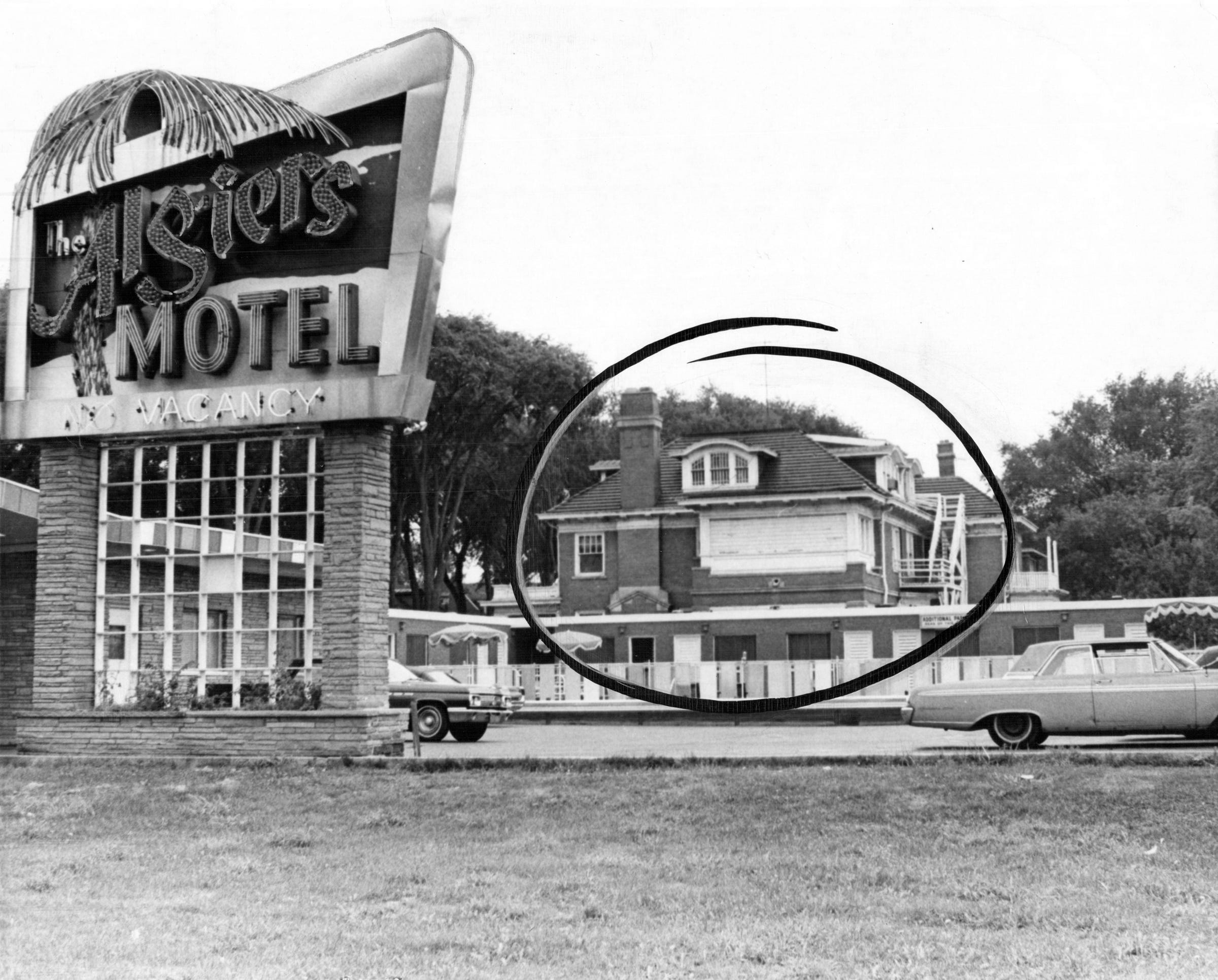 The Manor House, circled, is a three story home turned into an annex for the Algiers Motel where three young black men were found slain in late July 1967. The bodies were found on the first floor, which in this picture, is hidden by a one story wing of the motel.