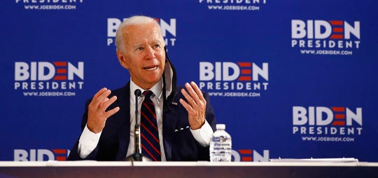 Democratic presidential candidate, former Vice President Joe Biden speaks during a roundtable on economic reopening with community members, Thursday, June 11, 2020, in Philadelphia.