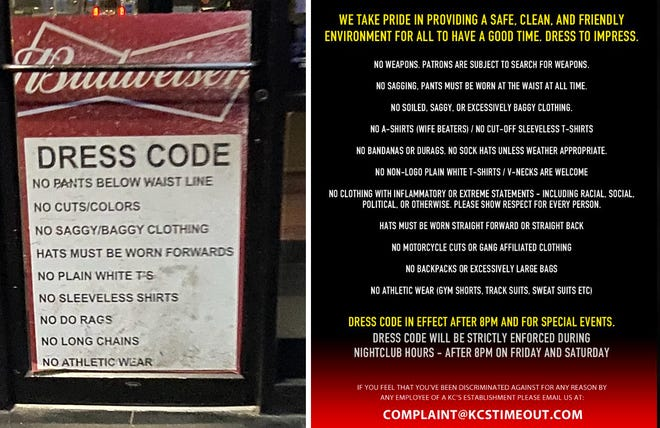 The original dress code for KC's Time Out Lounge is shown on the left, with a new version of the rules listed on the right. In addition to updating the terms, the operators have pledged to uniformly enforce the dress code in response to concerns about perceived profiling.