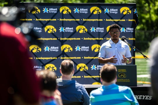 Iowa running back Ivory Kelly-Martin speaks during a press conference, Friday, June 12, 2020, in Iowa City, Iowa.