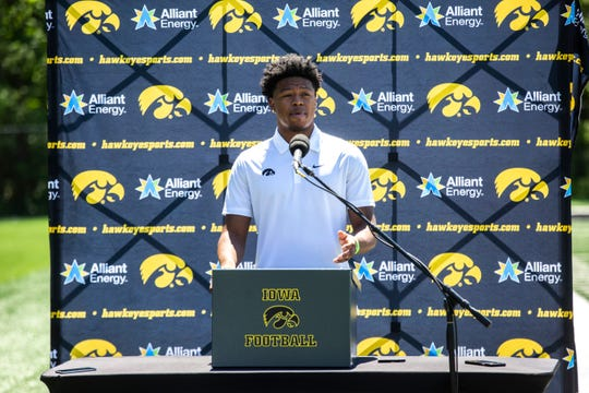 Iowa defensive back Kaevon Merriweather speaks during a press conference, Friday, June 12, 2020, in Iowa City, Iowa.