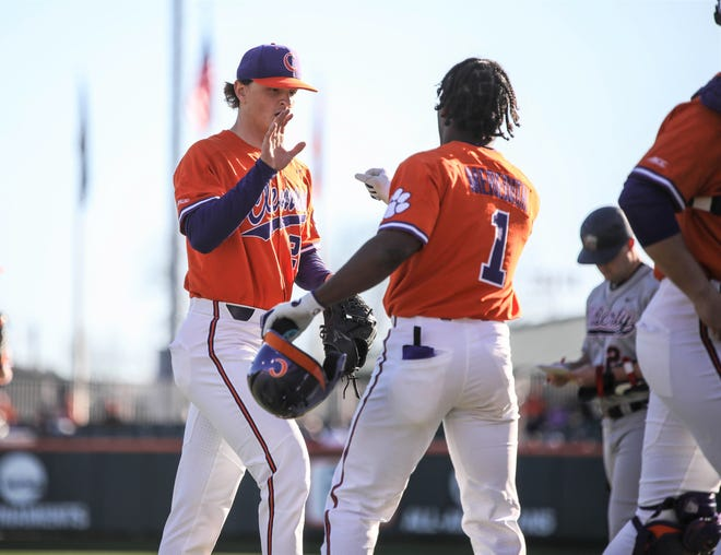 Howell's Sam Weatherly (left) was drafted by the Toronto Blue Jays out of high school in 2017, but chose to pitch three seasons for Clemson University.