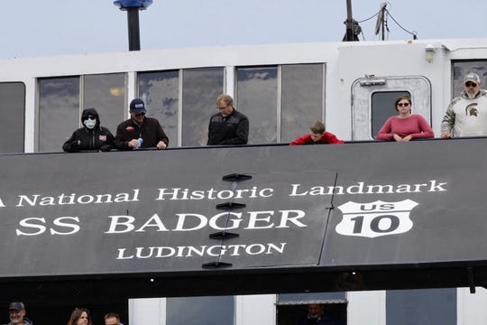 The S.S. Badger Lake Michigan car ferry makes its arrival in Manitowoc on its first sail of the season from Ludington, Michigan, on Friday, June 12, 2020.