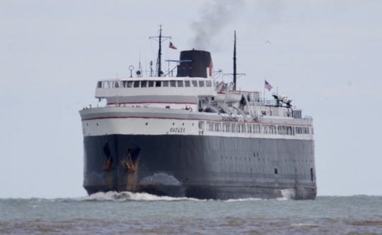 The S.S. Badger Lake Michigan car ferry arriving in Manitowoc on its first sail of the season on Friday, June 12, 2020.