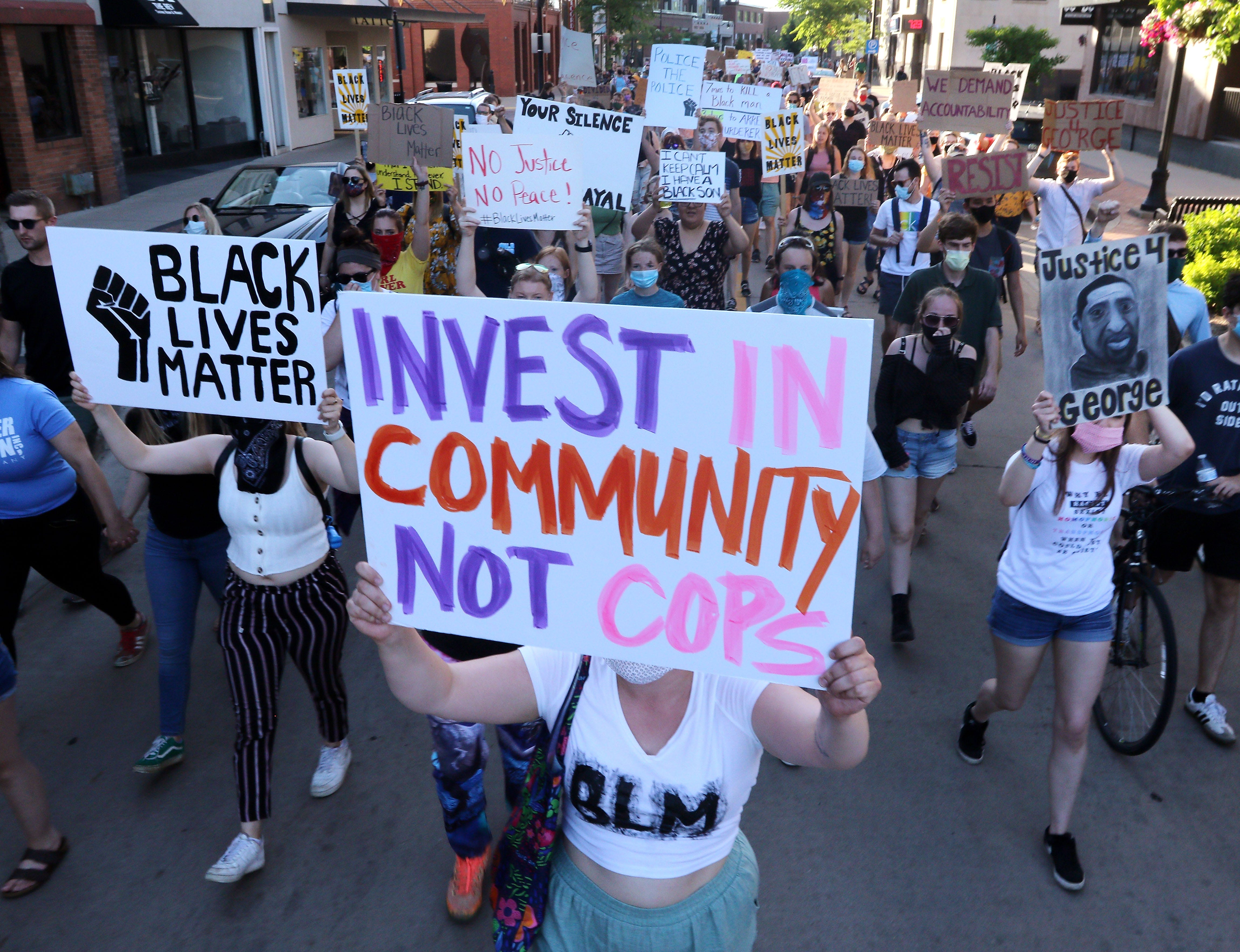 Peaceful protesters marched along Barstow Street in Eau Claire on June 5, 2020, as part of a rally in Phoenix Park. View more photos at LeaderTelegramPhotos.com.