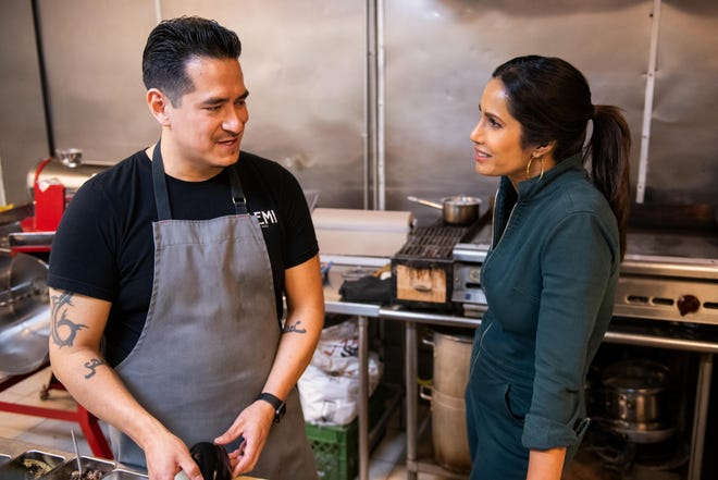 """Padma Lakshmi cooks with El Paso chef Emiliano Marentes of the modern restaurant Elemi in Episode 1 of """"Taste the Nation With Padma Lakshmi,"""" which debuts on Hulu on June 18."""