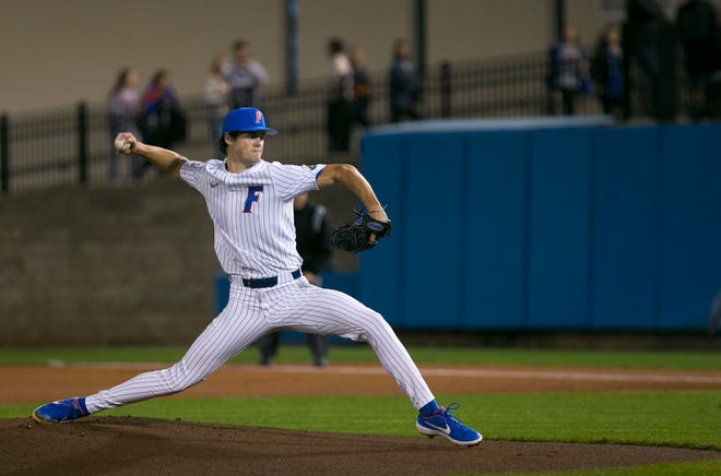 Tommy Mace was the starter in the Florida Gators' season opener against Marshall on Feb. 14, 2020, at McKethan Stadium in Gainesville, Florida. Mace will return with the Gators for the 2021 season.