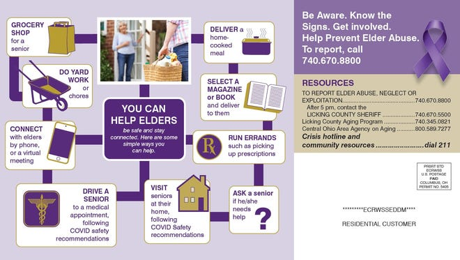 A mailer sent from Licking County Job and Family Services provides a list of resources and examples of ways community members can help seniors.