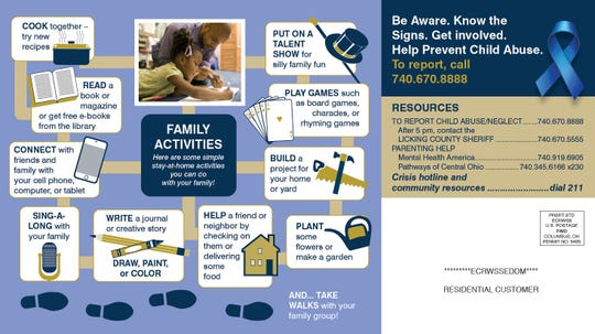 A mailer sent out by Licking County Job and Family Services shows a list of resources and suggestions on low to no cost activities for families