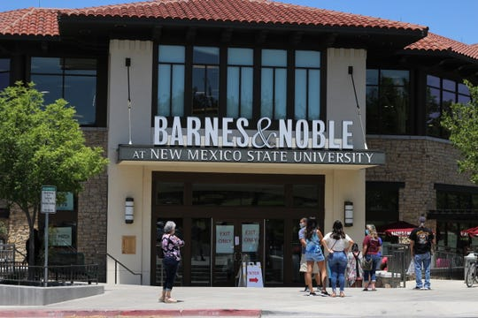 The NMSU Barnes & Noble bookstore on University Avenue and Jordan Road closed its doors forever at 2 p.m. on Friday, June 12, 2020. Patrons line up outside, practicing social distancing.