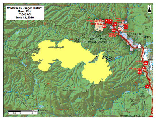 A map of the Gila National Forest shows the size and location of the Good Fire June 12, 2020.
