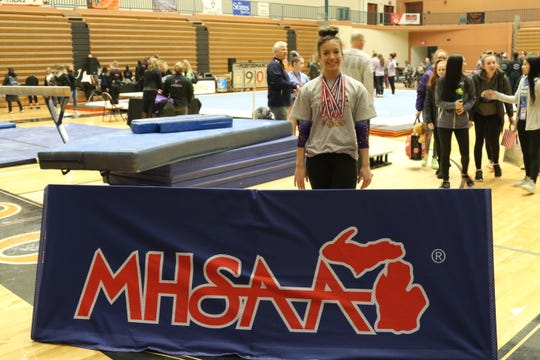 Livonia's Jessica Huddleston competed in the state gymnastics meet last March, six days before having surgery to remove a cancerous tumor.