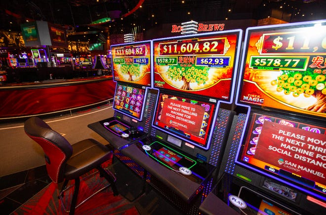 Slots machines pictured at San Manuel Casino in Highland, Calif on June 9, 2020.