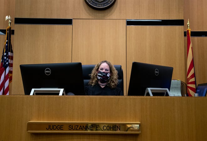 A portrait of Judge Suzanne Cohen, between cases, in her courtroom, June 3, 2020, at Maricopa County Superior Court, 175 W. Madison Street, Phoenix.