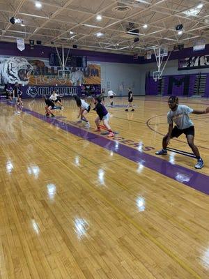 June 11, 2020; Millenniumgirls basketball team holds preseason summer workouts at their home gym in Goodyear, Ariz.