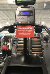 Signs displayed on every other cardio equipment at Crunch Fitness to make sure members are six feet apart from each other.