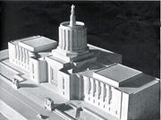 A model of the new Oregon State Capitol, showing where the heroic sculptural groups at either side of the entrance will be installed. The image is from the Oregon State Capitol Souvenir Book produced by the Oregon Statesman Publishing Co. for the building dedication Oct. 1, 1938.