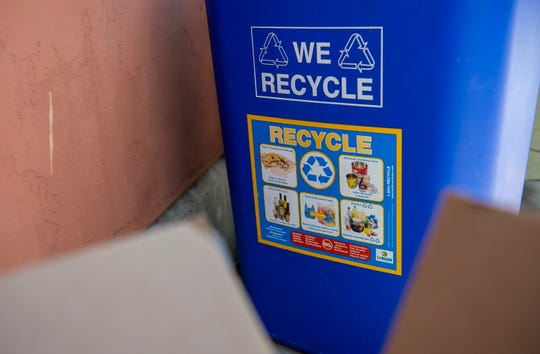 A blue recycle bin is placed inside Jesse G. Sanchez Elementary School in Salinas, Calif, on Thursday, June 9, 2020.