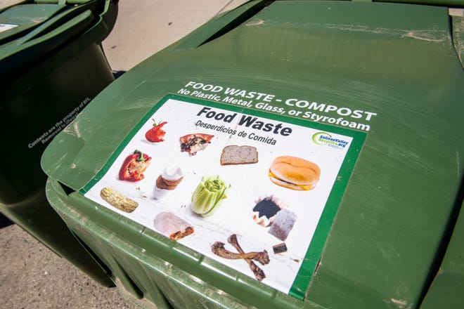 A food waste and compost bin is placed in the Jesse G. Sanchez Elementary School parking lot in Salinas, Calif, on Thursday, June 9, 2020.