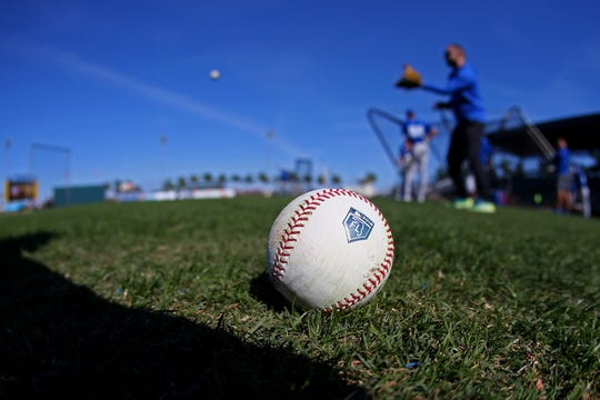 Mar 22, 2018; Bradenton, FL, USA; A view of an official Rawlings baseball with the Florida Spring Training logo during batting practice prior to the game between the Toronto Blue Jays and the Pittsburgh Pirates at LECOM Park. Mandatory Credit: Aaron Doster-USA TODAY Sports