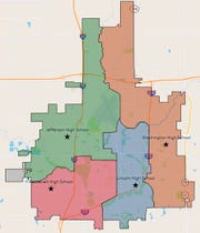 Shown is the board's tentatively approved boundary map for high school attendance zones, known as High School option A.