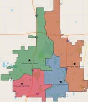 Shown is the new boundary option the Sioux Falls school board is expected to discuss June 17, known as High School option A2.