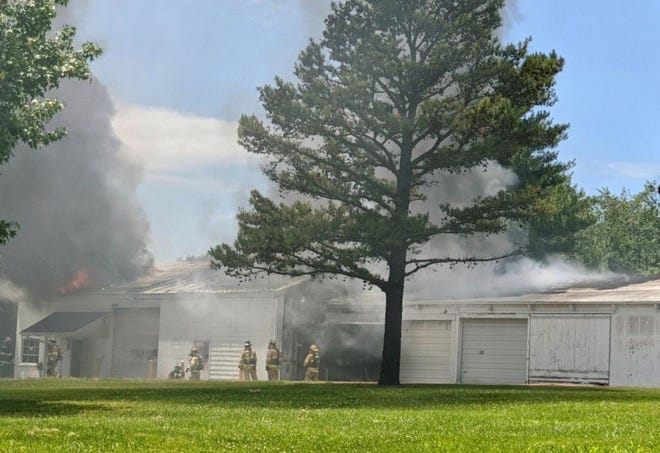 An early-afternoon fire at the Lake Springfield Park maintenance shop on June 12, 2020 prompted park board officials to close the park for the day.