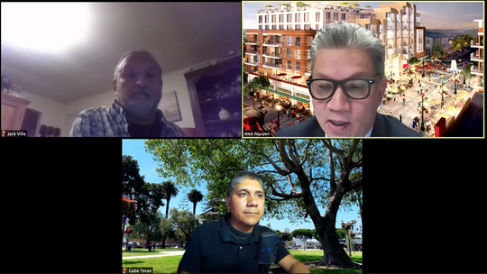 Oxnard City Manager Alex Nguyen, top right, talks to neighborhood council leaders during a video conferencing call about the city budget on Thursday, June 12.