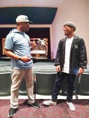 Quentin Floyd, left, converses with musician and rapper Anderson .Paak at the Oxnard Performing Arts Center.