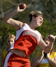 Sheridan's Stevi Large Gruber breaks the school shot-put record for the second time in her career in 2003 at Philo Tuesday. Gruber was recently named a part of the 2020 Mid-American Conference Hall of Fame class.