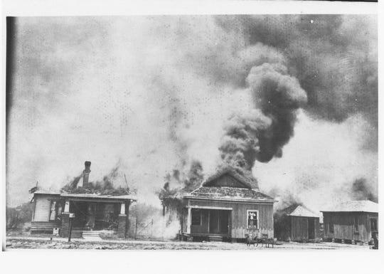 Tulsa Race Massacre: Houses on fire